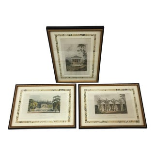 1820's English Hand Engraving Chromolithographs - Set of 3