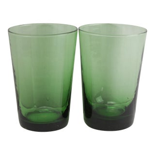 Mid-Century Green Petite Tumblers - A Pair