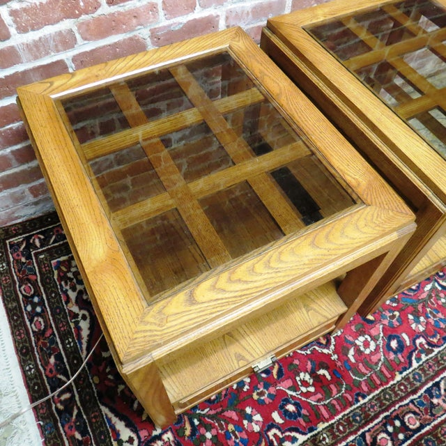 Vintage Wooden Glass Top Side Tables - Pair - Image 4 of 5