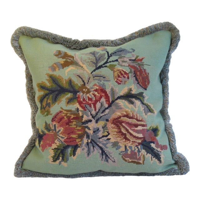 Vintage Floral Needlepoint Pillow - Image 1 of 4