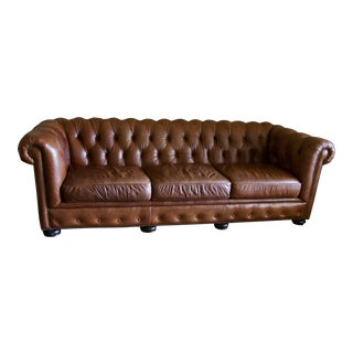 Crocodile Stamped Brown Leather Chesterfield Sofa