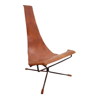 Early Dan Wenger Lotus Lounge Chair in Original Leather