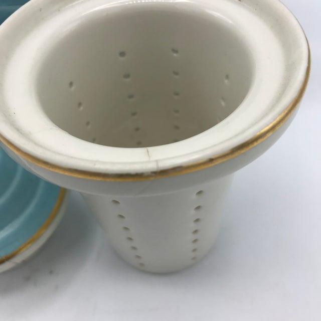 1950s Hall Tiffany Blue & Gold Aladdin's Lamp Teapot - Image 8 of 10