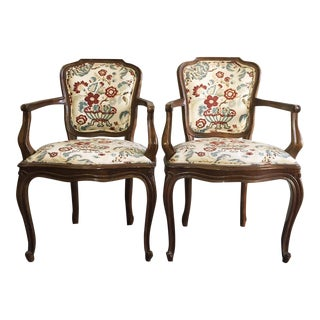 Vintage Italian Bergere Arm Chairs - A Pair