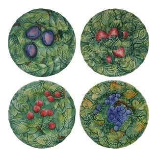 Vintage Italian Fruit Berry Leaf Glazed Ceramic Plates - Set of 4