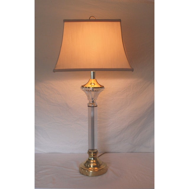 Image of Elegant Fluted Crystal Table Lamp with Shade