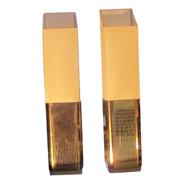 1970s Gold Lame Lamps - A Pair - Image 1 of 7
