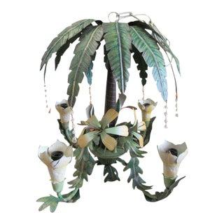 Tole Palm Tree Chandelier