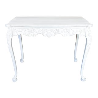 Wooden Carved White Entryway Table