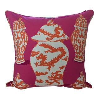 Dana Gibson Bright Pink, Carrot & White Dragon Jar Center Pillow