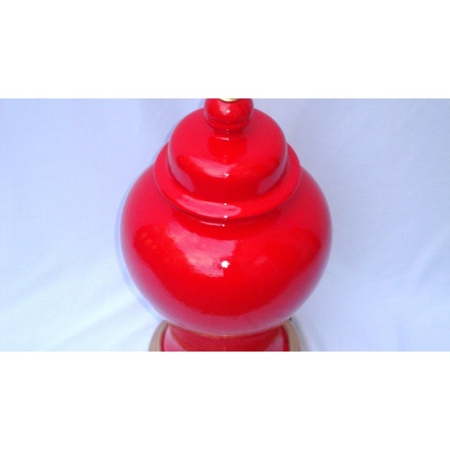 Hollywood Regency Red Lacquer Ceramic Lamp - Image 7 of 11