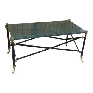 Maison Jansen Styled Coffee Table with Green Marble Top & Brass Feet