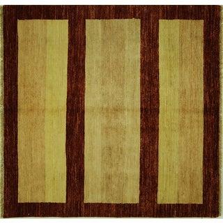 Traditional Gabbeh Striped Square Rug - 5' x 5'