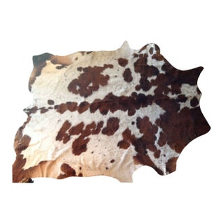 Brown and White Natural Cowhide Rug - 6' x 7'