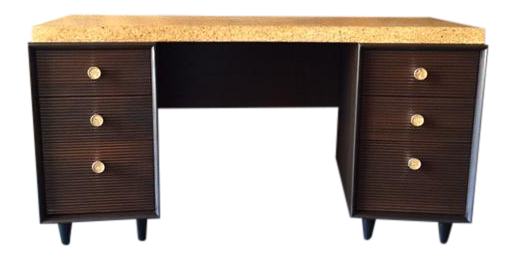 paul frankl for johnson furniture mid century cork u0026 mahogany desk
