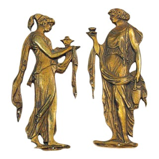 Bronze Figural Decorative Hardware - A Pair