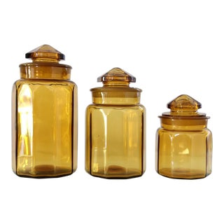 Antique Amber Glass Jars- Set of 3
