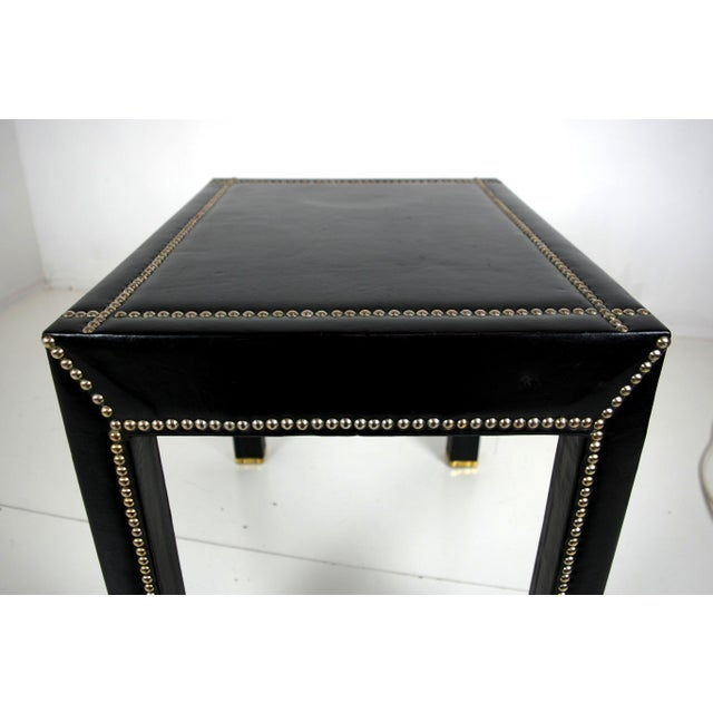 Italian Black Leather Studded End Tables - A Pair - Image 10 of 10