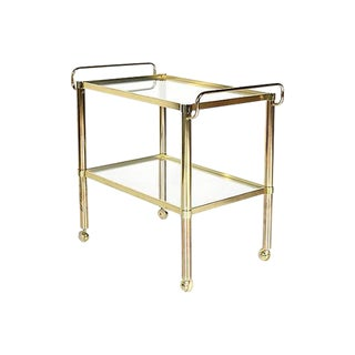 1970s Gilt Metal & Glass Rolling Cart