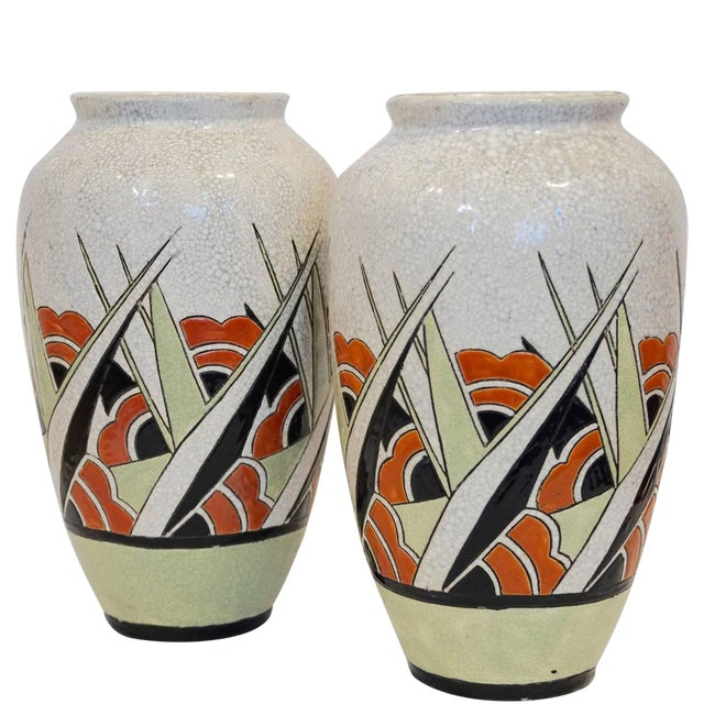 Image of Rare Matching Pair of Charles Catteau Geometric Vases