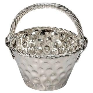 Mid-Century Hammered Nickel Plated Tall Handled Basket