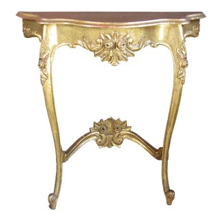 Antique Gold Painted French Carved Demi Lune Table