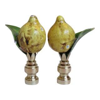 Vintage Italian Lemon & Leaf Tole Enamel Finials - a Pair