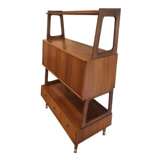 Mid Century Drop Lid Desk, Drawer, Bookshelf Unit
