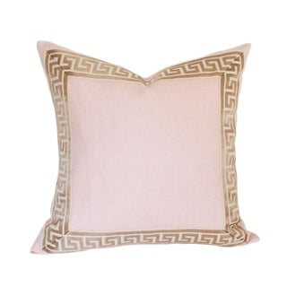 "Pale Pink Linen With Greek Key Border Pillow Cover 18"" Sq"