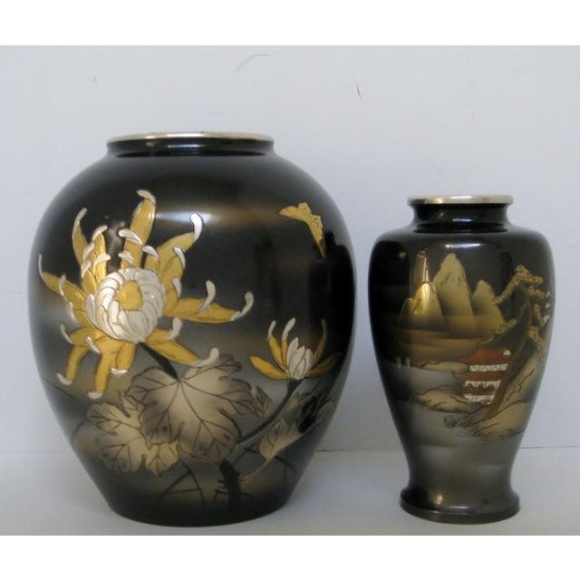 Image of Vintage Meiji Metalwork Vases - A Pair