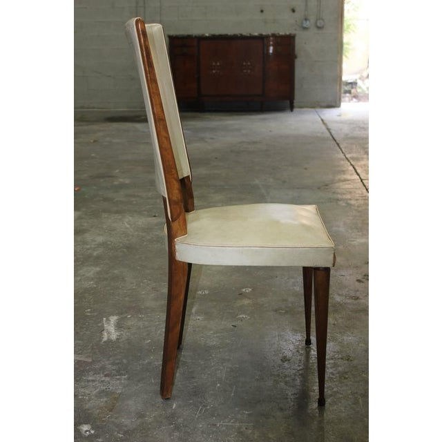 Set of Six French Art Deco Solid Mahogany Dining Chairs, circa 1940s. - Image 10 of 10