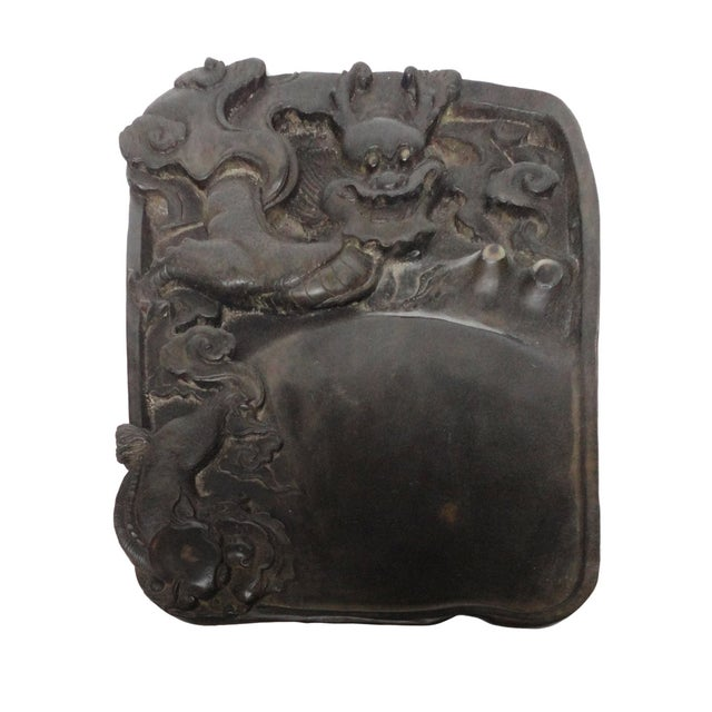 Image of Chinese Inkstone Dragon Sculpture Calligraphy Tool