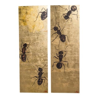 A Large Goldleaf Panel by Lily Lewis titled The Colony 2009