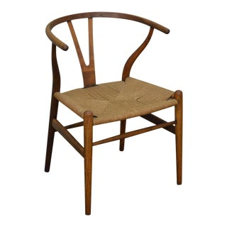 Hans Wegner Vintage Danish Modern Rush Seat Wishbone Chair