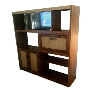 Mid-Century Modern Walnut & Cane Wall Unit