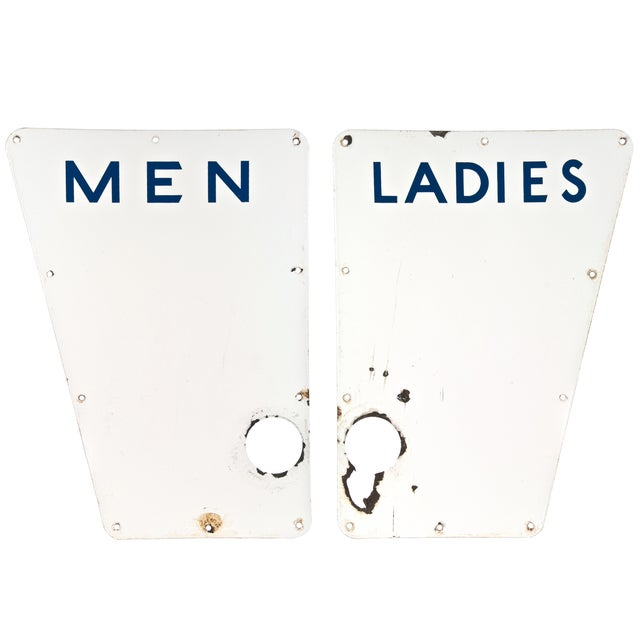 Image of Vintage Porcelain Enamel Restroom Signs - Pair