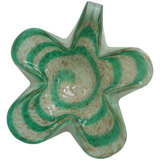 Murano Green Glass Swirl Bowl