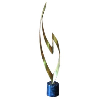 """""""Flame"""" Brass Marble Sculpture by Curtis Jere"""