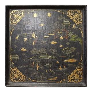 Chinese Black Lacquer Golden Scenery Square Tray Display Art