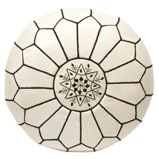 Embroidered Leather Pouf - Black on White