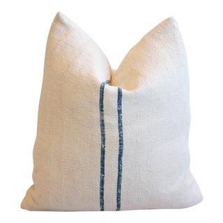 Blue Double Striped European Homespun Textile Pillow