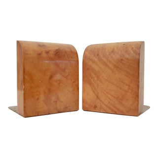 Art Deco Burl Wood Bookends - A Pair