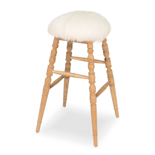 Sarreid LTD Winoma Wood & Goatskin Bar Stool - Image 5 of 6