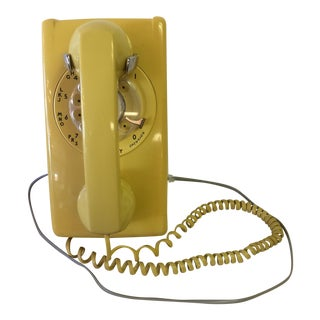Vintage Yellow Rotary Wall Telephone