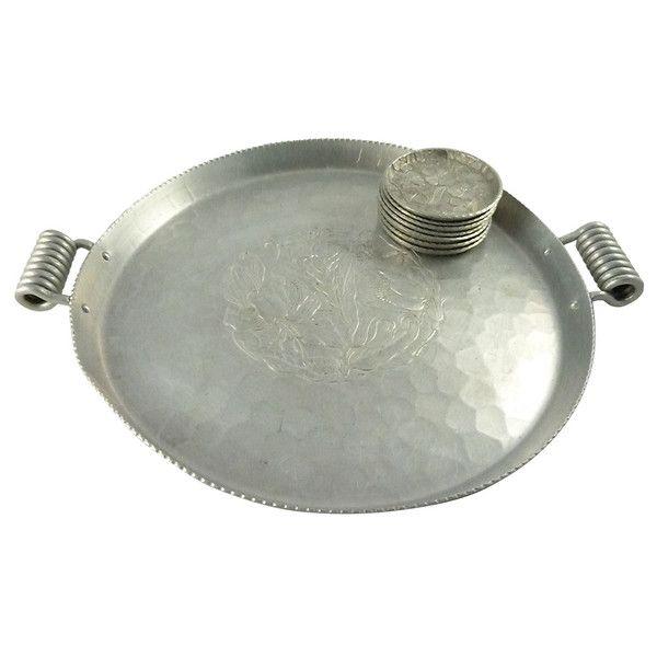 Image of Mid-Century Hand Forged Aluminum Tray & Coasters