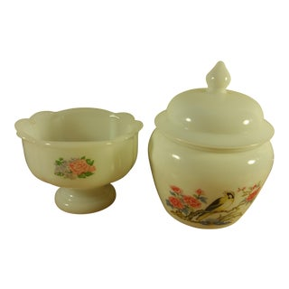 Avon Milk Glass Lidded Dish & Footed Compote- Set of 2