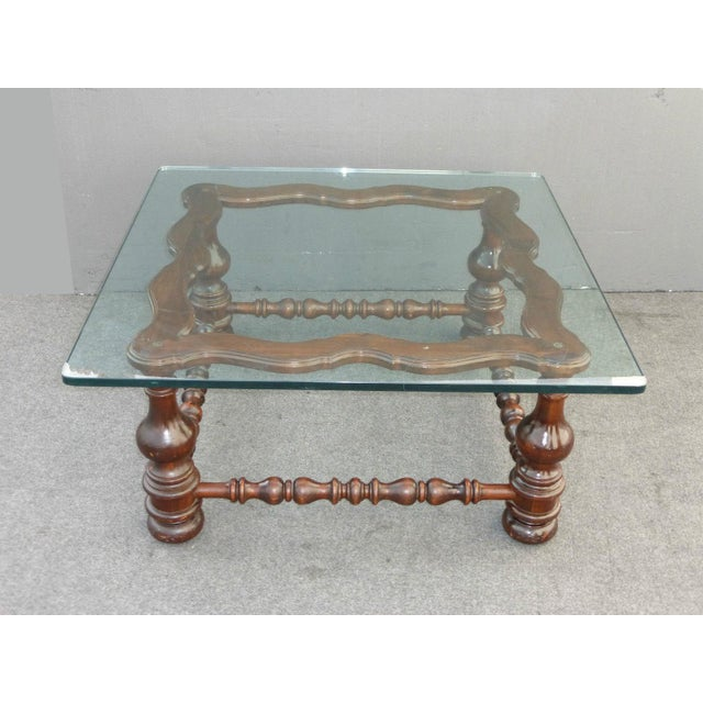 Vintage Glass Coffee Tables: Vintage Spanish Style Glass Top Turned Wood Coffee Table