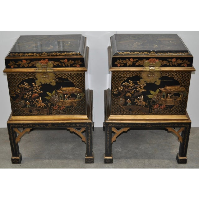 Image of Vintage Chinoiserie Trunk Side Tables - A Pair
