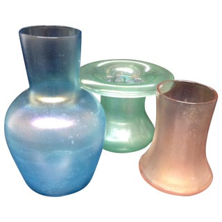 Collection of Pastel Iridescent Glass Vases - 3