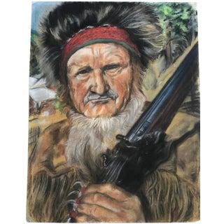 "Vintage Western ""Mountain Man"" Pastel Portrait"